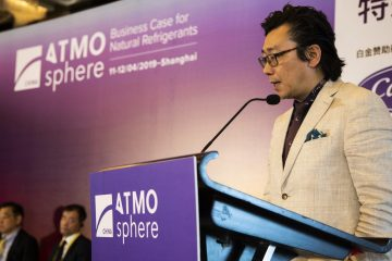 Alan Lin, head of facility management, METRO China, presents during the End User Panel at ATMO China 2019.