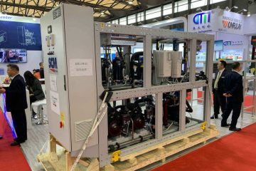 CO2 transcritical rack system from SCM Frigo (a Beijer Ref company) on display at Beijer Ref's China Refrigeration booth. The rack will go to Emerson's new training centre after the show.