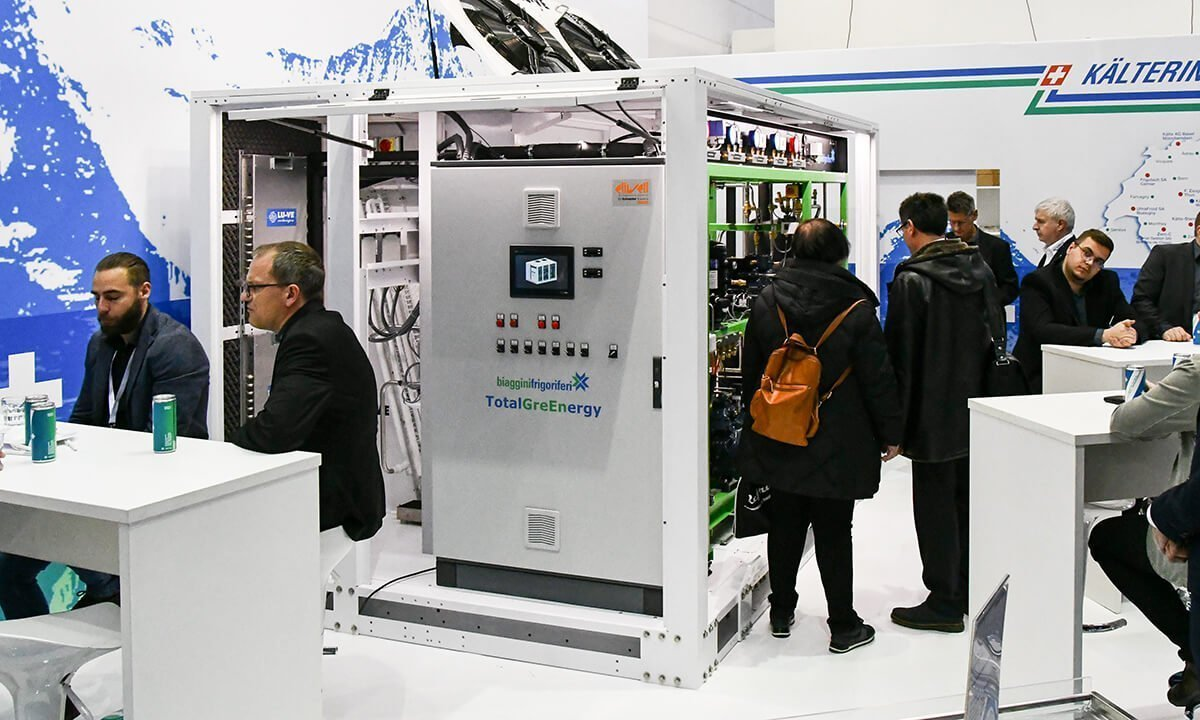 The TotalGreEnergy integrated CO2 system at Biaggini Frigoriferi's EuroShop booth.