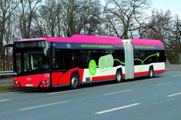 Solaris Urbino 18 IV electric articulated bus from VAG Nuremberg transport company with Konvekta CO2 heat pumps.