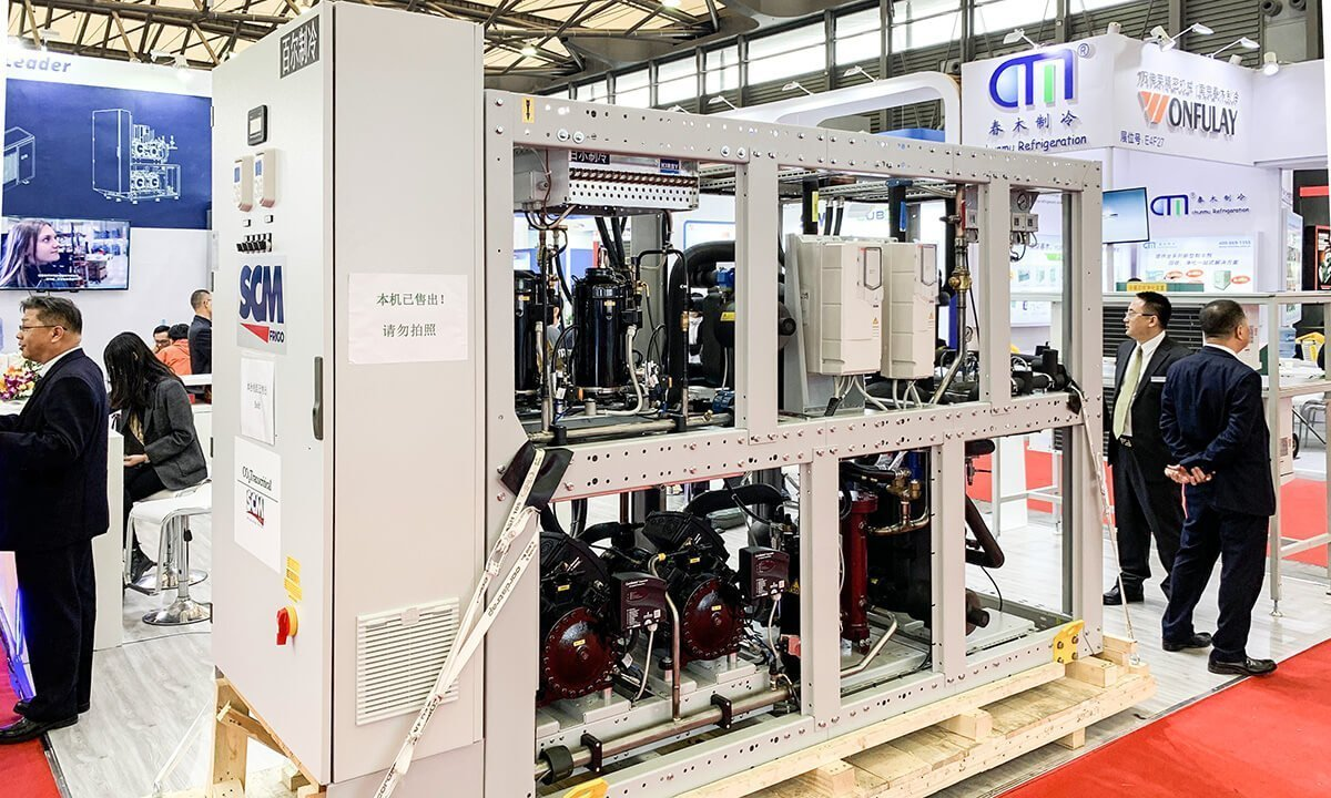 CO2 transcritical rack system from SCM Frigo (a Beijer Ref company) on display at Beijer Ref's China Refrigeration booth in April 2019. The rack went to Emerson's Suzhou facility after the show.