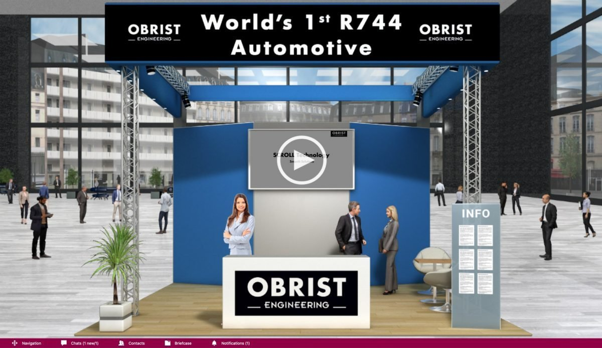 Obrist Engineering's booth at the Virtual Trade Show