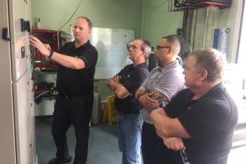 Ian Suffield, Bitzer Australia, at left, conducting CO2 training