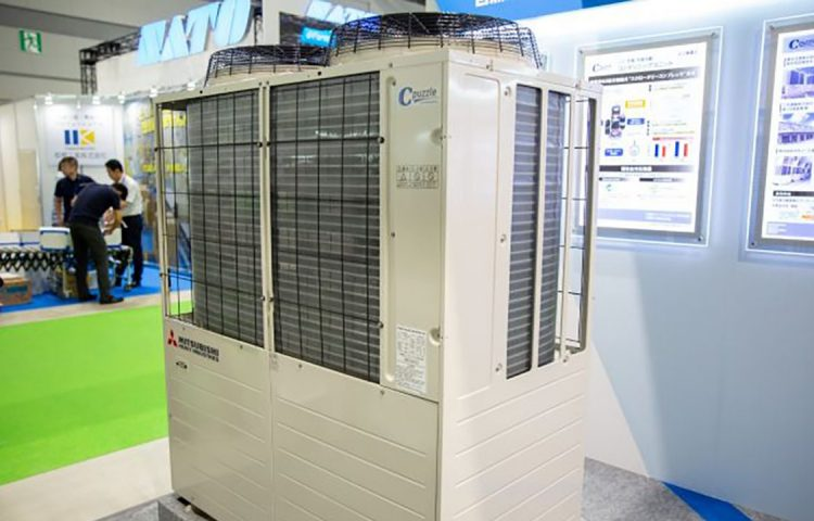 Mitsubishi Heavy Industries exhibiting its CO2 condensing unit at FOOMA Japan 2019 in Tokyo.