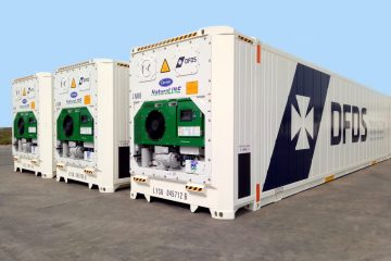 DFDS Logistics' new 45-foot intermodal containers refrigerated by Carrier Transicold's NaturaLINE CO2 refrigeration system. Photo via Carrier Transicold.