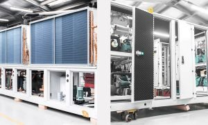 From left: Refra R290 air-to-water heat pump; Refra transcritical CO2 booster rack