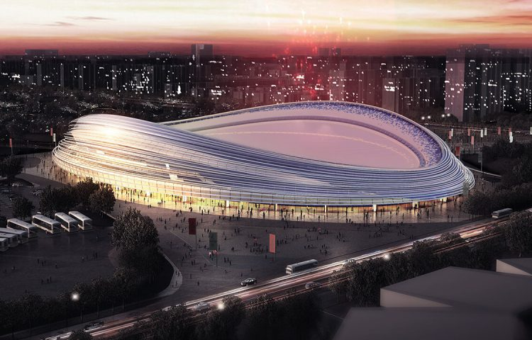 The Ice Ribbon in Beijing is scheduled to be completed this October.