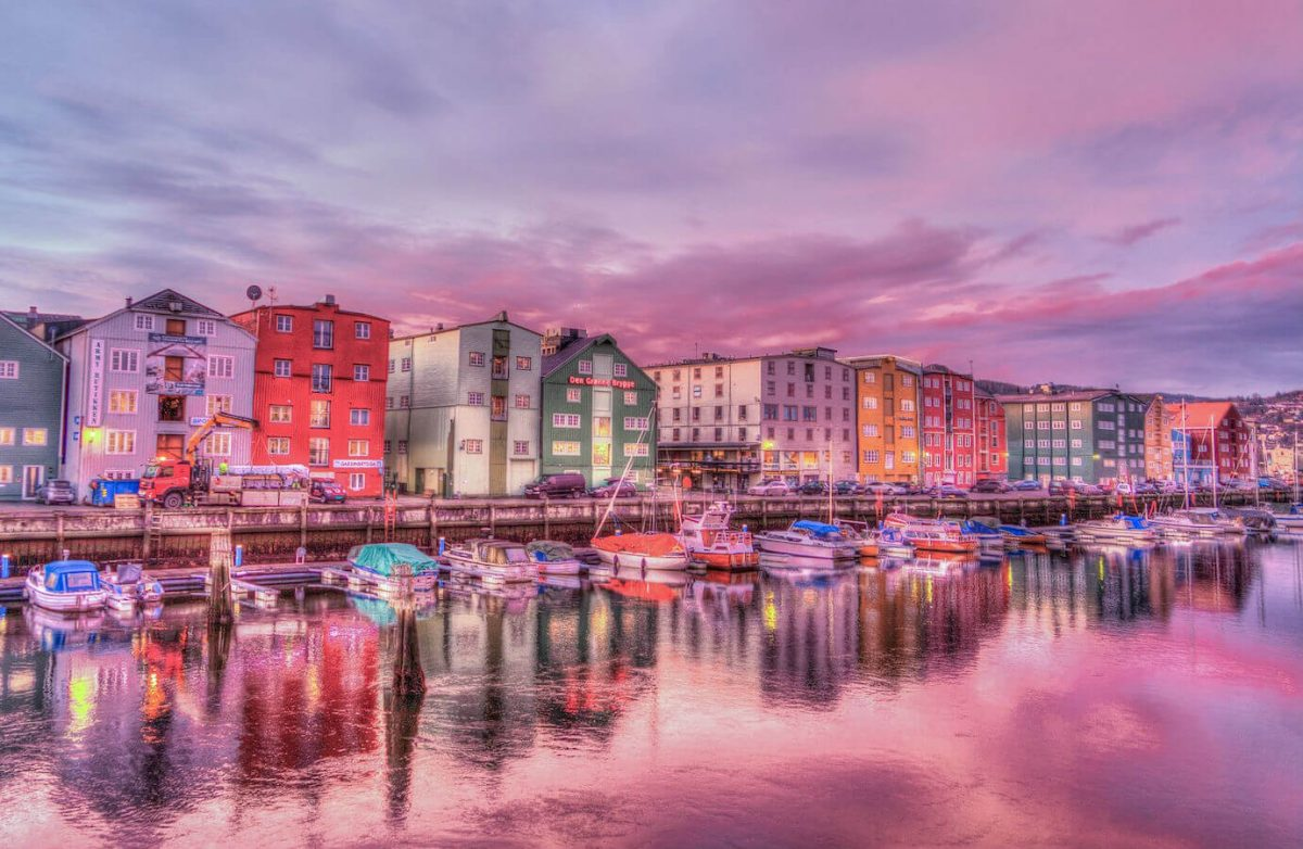 The old-town harbour, Trondheim, Norway.