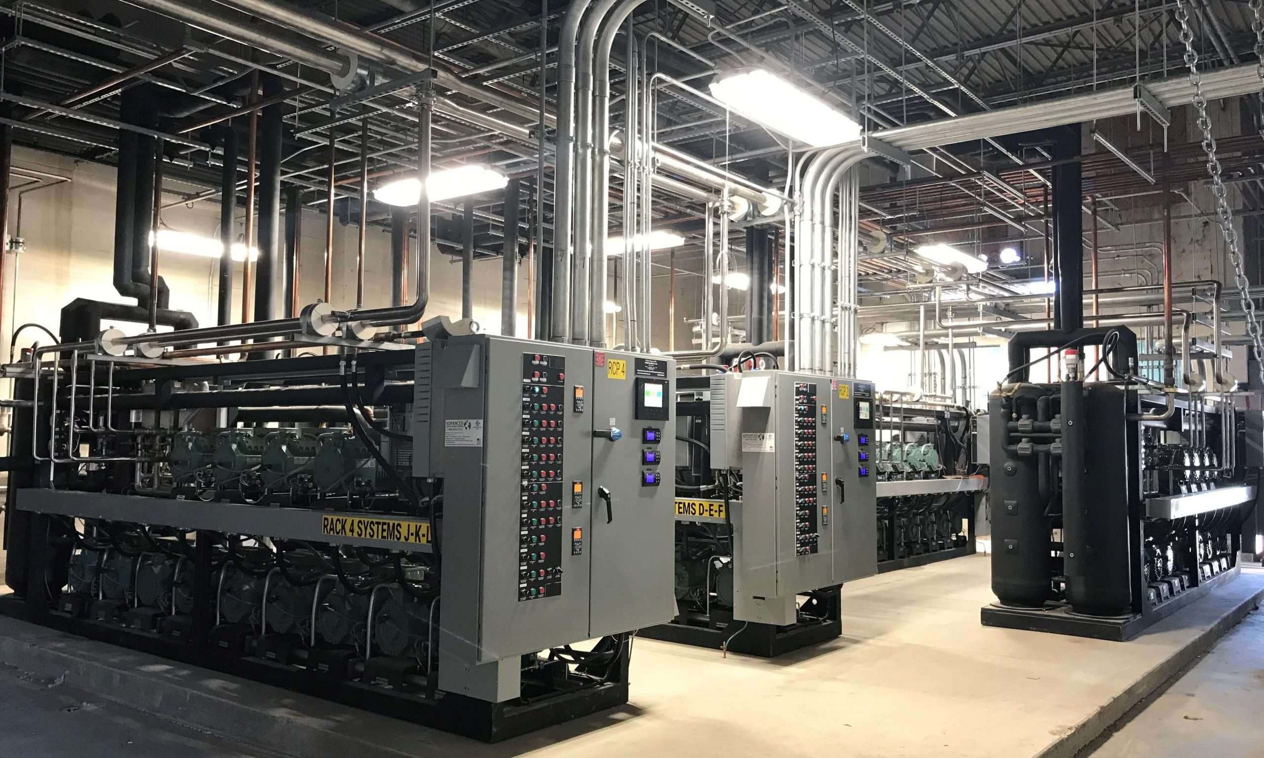 Five transcritical CO2 racks are used at Yosemite Foods.