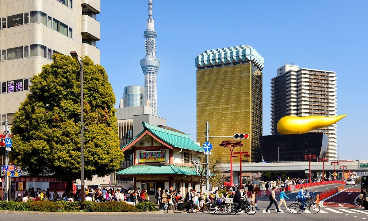 okyo, Japan. Asakusa neighborhood with Asahi Beer headquarters (far right) © iStock