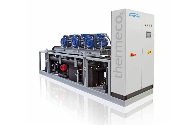 A promotional image of a thermeco2 CO2 heat pump unit from Engie.
