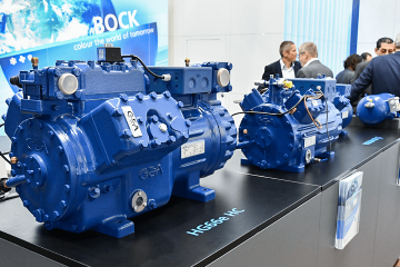 GEA Bock compressors at the company's EuroShop booth.