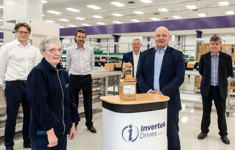 Invertek Drives team celebrating 2 million produced drives.